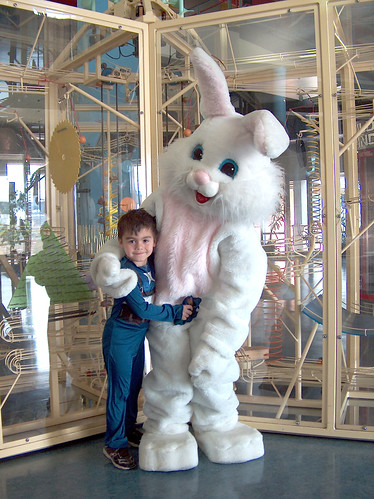 Ethan Daughtry, age 5, poses with Sci-Port's Easter Bunny! by Karen E. Wissing