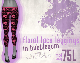 [IF] Floral Lace Leggings in Bubblegum
