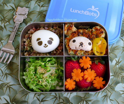 Rilakkuma Chicken Miniburgers LunchBots Bento by sherimiya ♥
