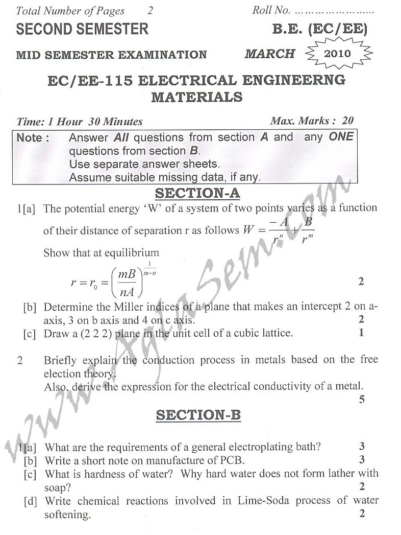 DTU Question Papers 2010 – 2 Semester - Mid Sem - EC-EE-115