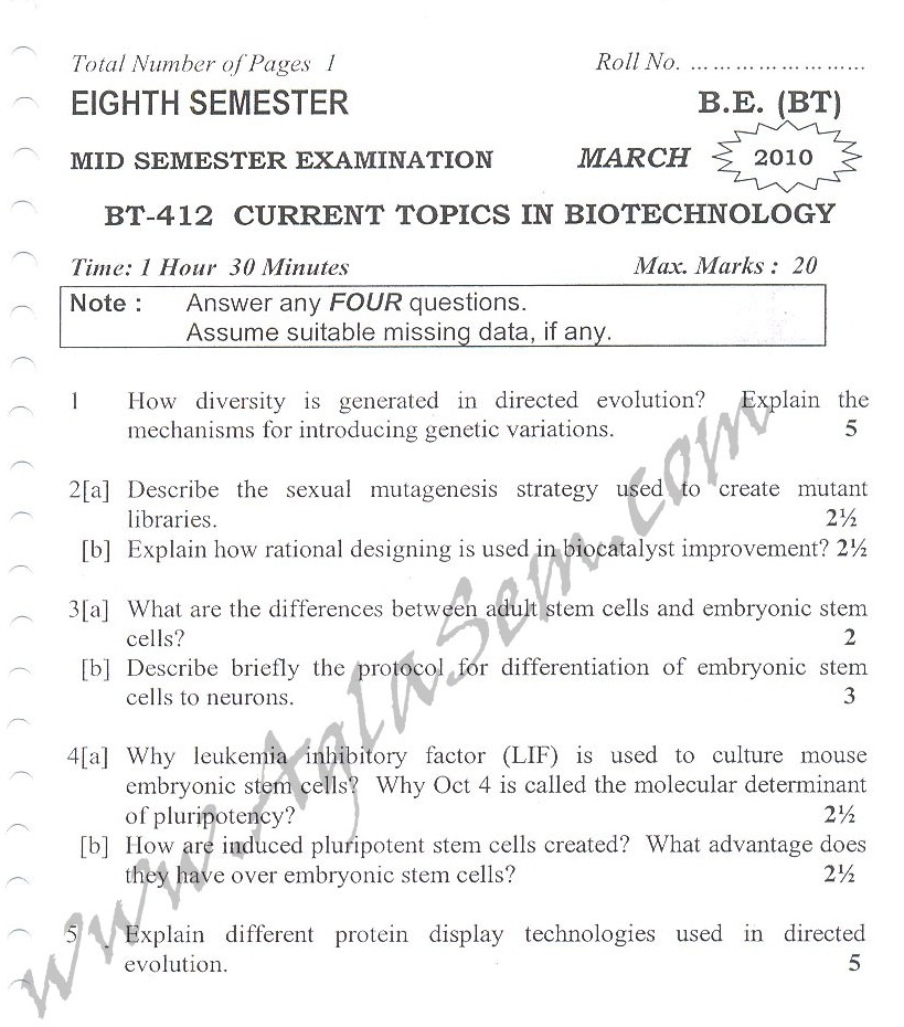 DTU Question Papers 2010 – 8 Semester - Mid Sem - BT-412