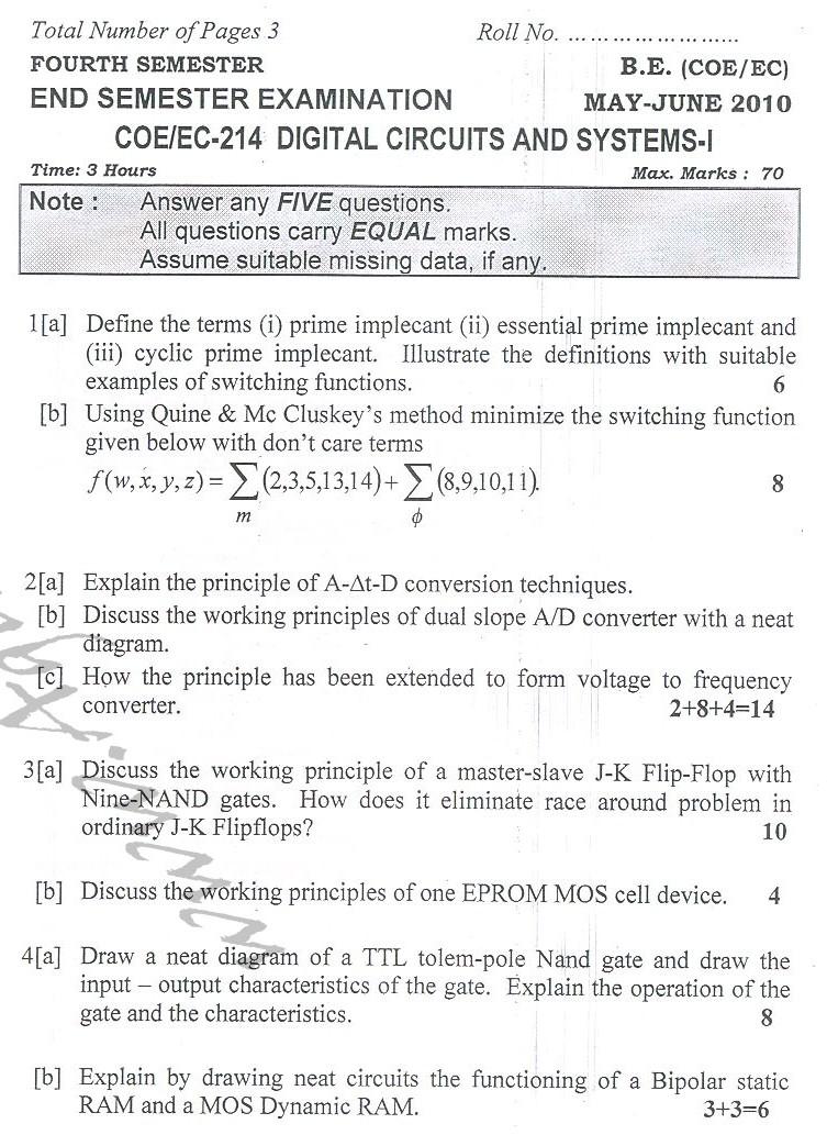 DTU Question Papers 2010 – 4 Semester - End  Sem - COE-EC-214