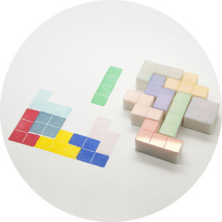 Tetris Blocks, Hand Carved Rubber Stamp Set