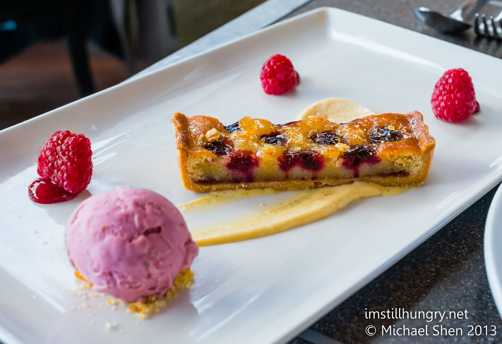 Cafe Sydney Warm raspberry frangipane tart, honey cream, raspberry ice cream