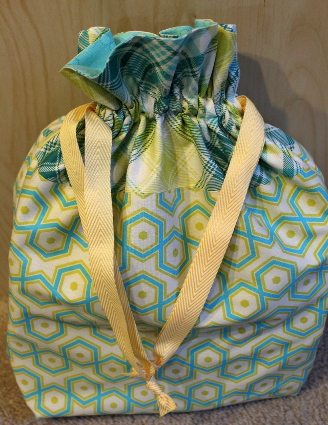 Another lined drawstring bag - inside are the 30 pincushions from The Pincushion Project!