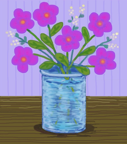 Pink Flowers in Blue Vase (Digital Pastel Day 7) by randubnick