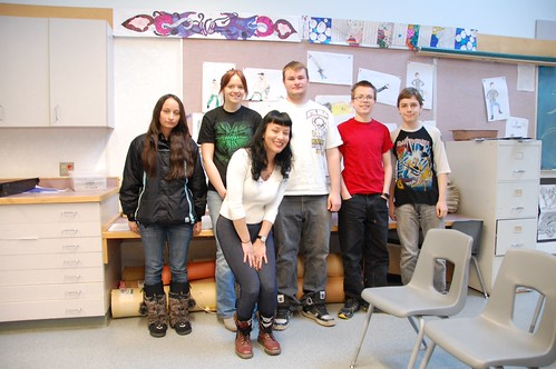 Yasuko with some students at Hudson's Hope Elementary-Secondary