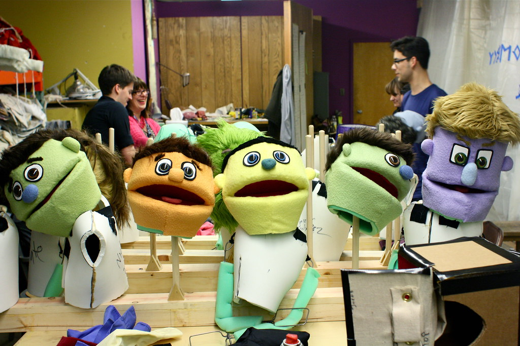 """Avenue Q"" puppet heads are lined up at the end of a table at a scene shop room in the Creative Arts Building Thursday, April 18, 2013. The Little Theatre will host a preview of the modern musical on Thursday, April 25, 2013. Photo by Gabriella Gamboa / Xpress""Avenue Q"" puppet heads are lined up at the end of a table at a scene shop room in the Creative Arts Building Thursday, April 18, 2013. The Little Theatre will host a preview of the modern musical on Thursday, April 25, 2013. Photo by Gabriella Gamboa / Xpress"
