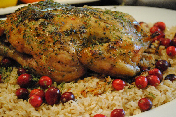 Roasted Chicken over Basmati and Cranberries