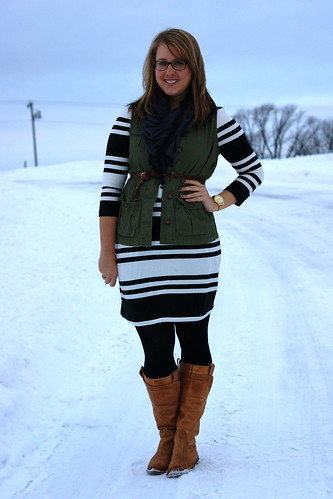 striped Old Navy dress and vest