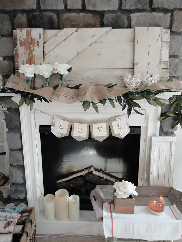 White Valentine's Mantel decor and banner