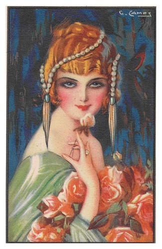 022-Mujer con rosa-Gaspar Camps 1910-1920- -via bne.es