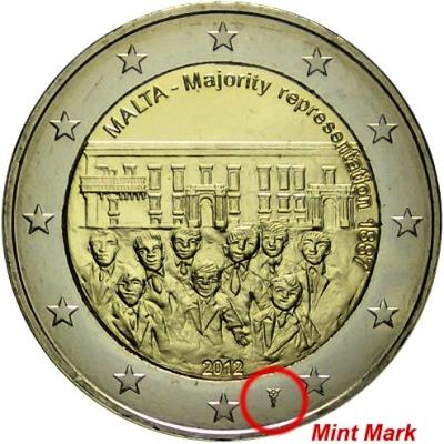 2 Euro Malta 2012, Väčšinové zastúpenie, so značkou!
