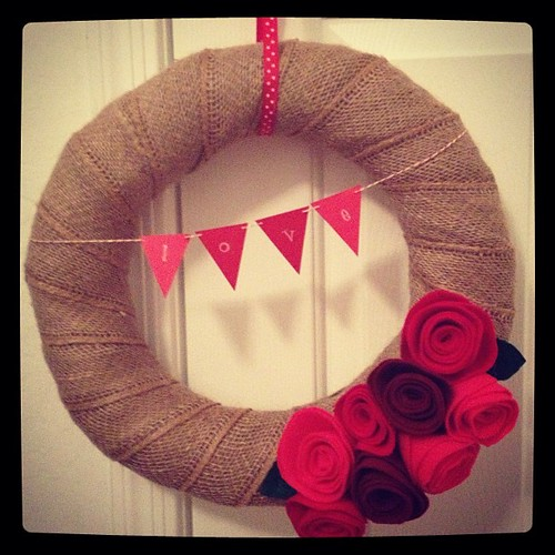Valentine's Day crafting - first attempt ever making a wreath and felt flowers