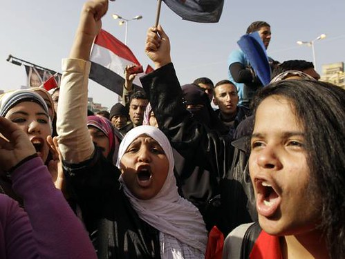 Egyptian women demonstrate on February 13, 2013 against sexual harassment and assault. Many brandished knifes during the protest. by Pan-African News Wire File Photos
