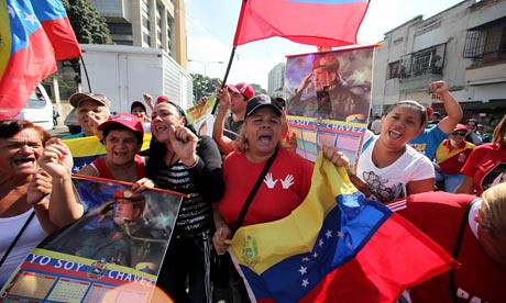 Supporters of President Hugo Chavez in Caracas. The Venezuelan President has returned to the South American state from  Cuba. by Pan-African News Wire File Photos