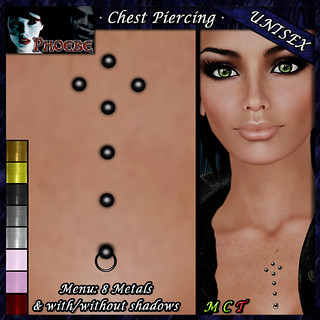 [$55L PROMO] *P* Unisex Chest Piercing K2 ~8 Metals~