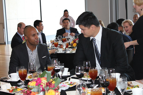 February 15th, 2013 - Yao Ming has lunch with Jay Williams before their interview starts at The Asia Society of Texas in Houston