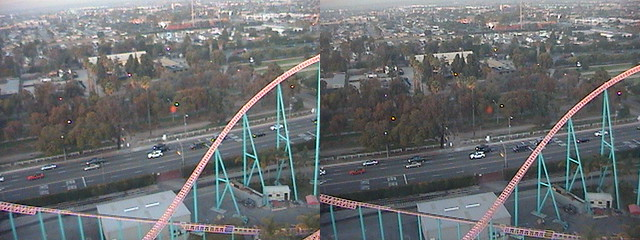3D, Xcelerator, NNE view from Sky Cabin, Boardwalk, Knott's Berry Farm, Buena Park, California, 2012.01.12 17:57