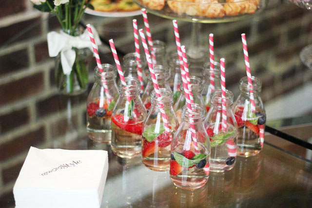 stripy straws in glass bottles