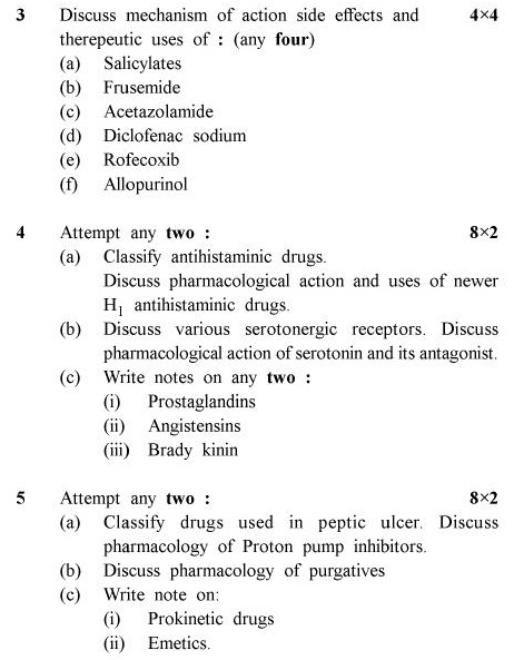 UPTU B.Pharm Question Papers PHAR-363 - Pharmacology-II