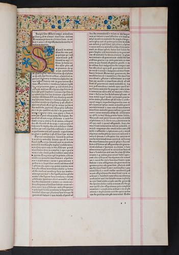 Decorated border and initial inserted in Albertus Magnus: De animalibus