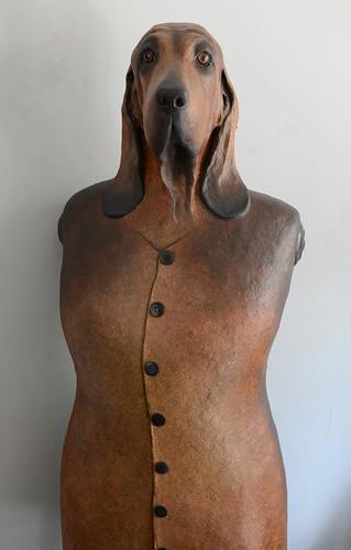 paper mache hound in suit jacket