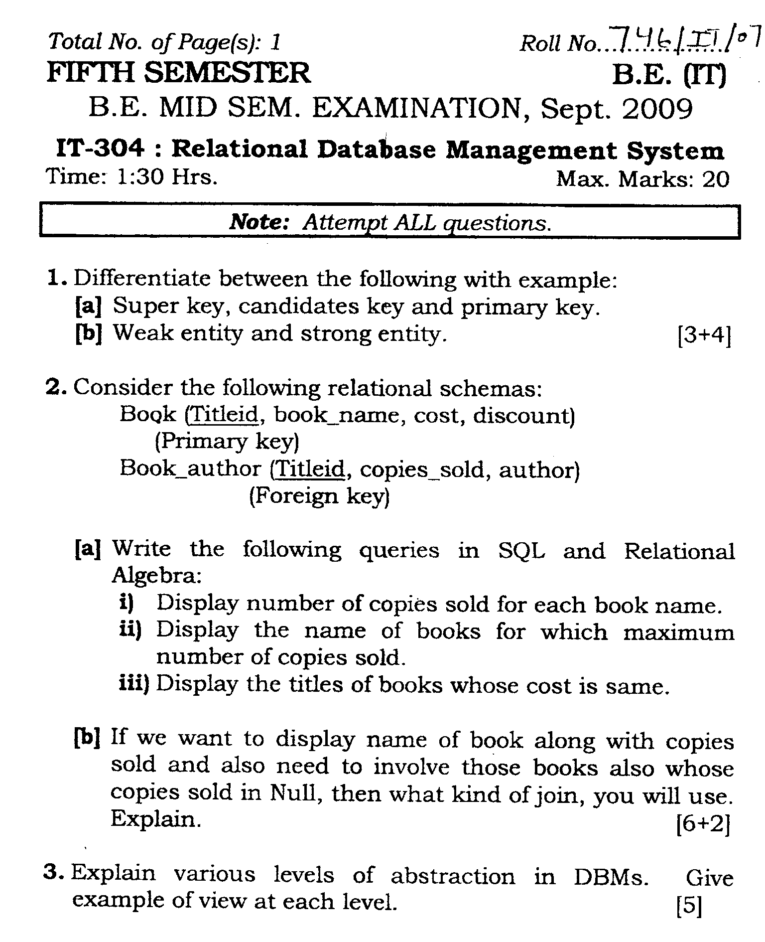 NSIT: Question Papers 2009 – 5 Semester - Mid Sem - IT-304