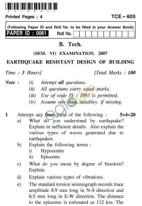 UPTU B.Tech Question Papers - TCE-605-Earthquake Resistant Design of Building