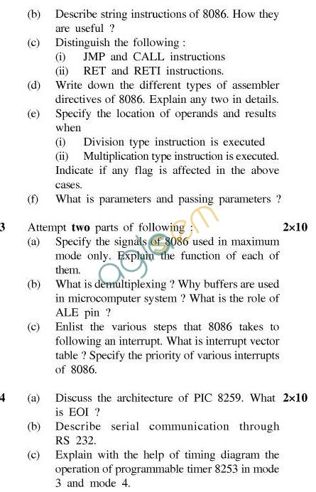UPTU B.Tech Question Papers - EC-603-Microprocessors
