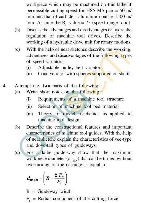UPTU B.Tech Question Papers - TPI-603 - Principles of Machine Tool Design