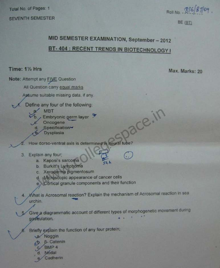 NSIT Question Papers 2012 – 7 Semester - Mid Sem - BT-404