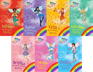 The Rainbow Magic book covers—all glitter!