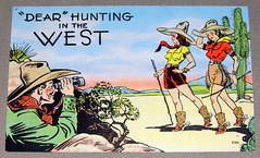 "Vintage Comic Postcard, ""Dear"" Hunting in the West, Copyright by E.C. Kropp Co., Milwaukee, Wis."