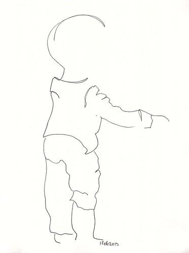 Pen sketch of standing toddler