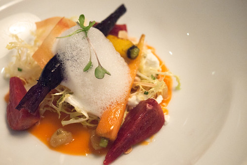 Warm Heirloom Carrot & Beet Salad with Citrus Cardamom Dressing and Goat's Milk Foam @ Yellow Door Bistro