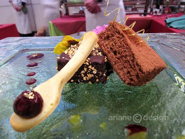 Copper Chimney: European-style Indian fusion mousse cake, poppy seed mango mousse cake and coconut pitaya fruit cake, duo of berry coulis, dark chocolate and caramel swirl, Zobrowke vodka, tabasco - Best Dessert Award