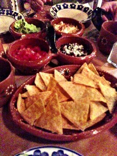Corn chips, guacamole, salsa