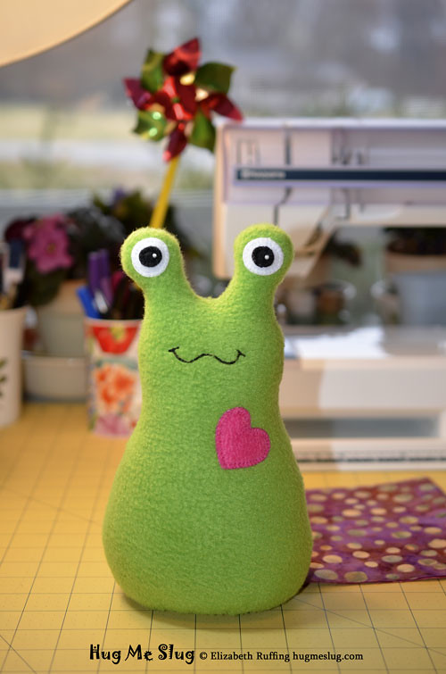 Grass Green Hug Me Slug, original stuffed animal art toys by Elizabeth Ruffing