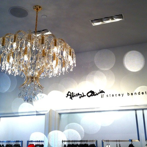 How AMAZING is this chandelier in the @alice_olivia boutique at #SaksSTL @s5a #stlfw @alivemagstl