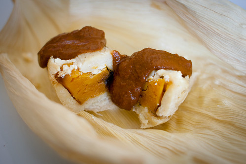 Butternut squash and goat cheese tamales with mole poblano