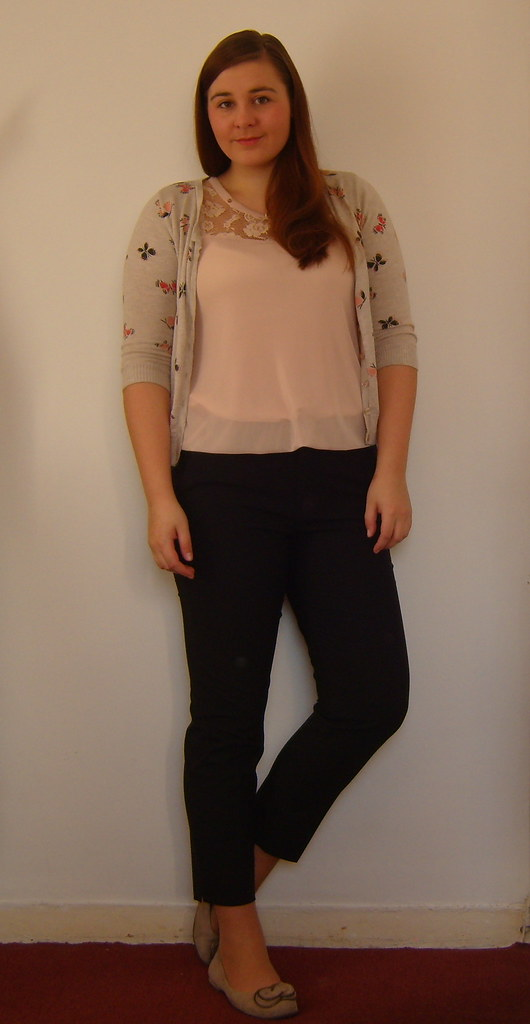 Uniqlo trousers, Pink top, Tesco Cardigan, Clarks Shoes