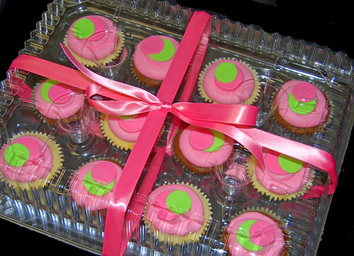 pink and green sassy circles cupcakes for a thank you business delivery