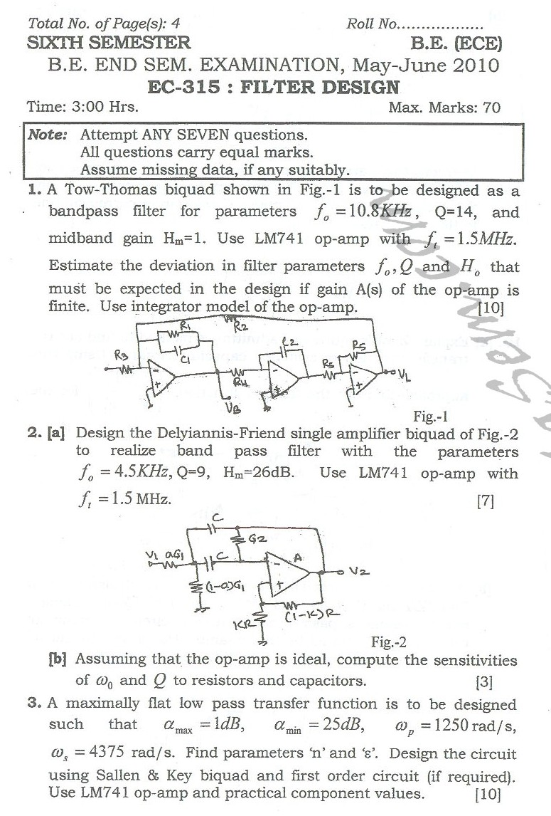DTU Question Papers 2010 – 6 Semester - End Sem - EC-315