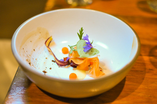 carrot essence, ginger gel, soy flakes, oxalis leaves