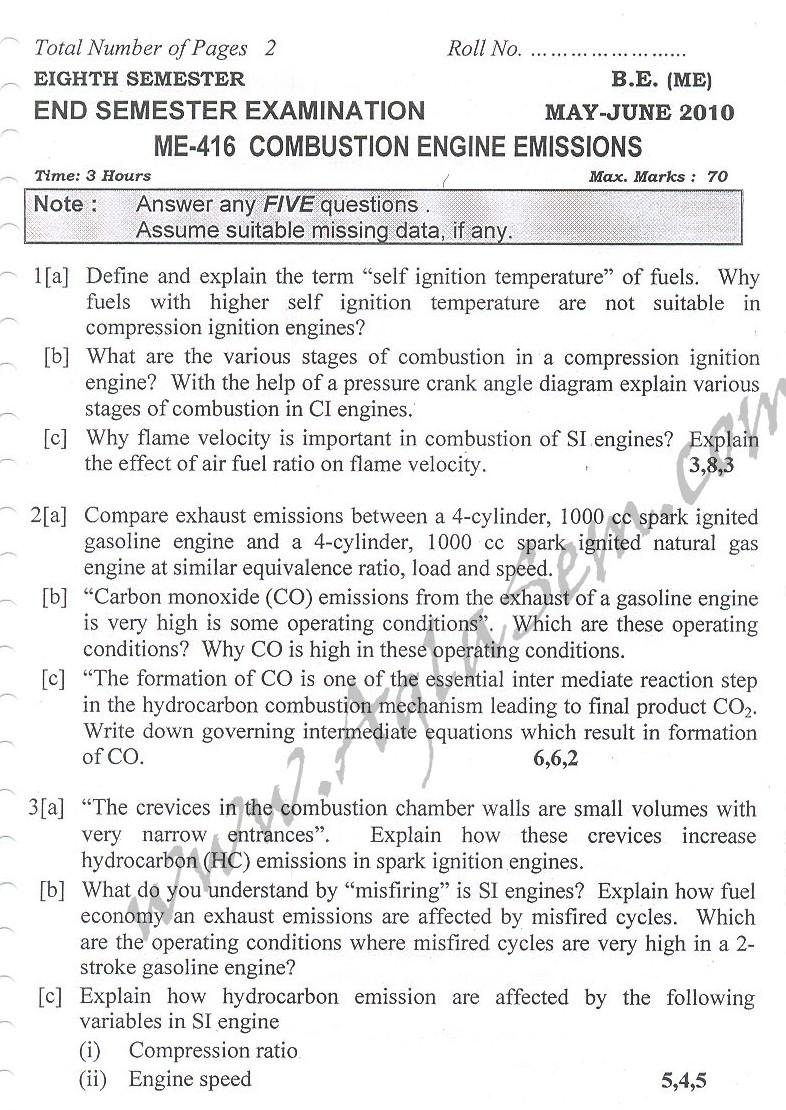 DTU Question Papers 2010 – 8 Semester - End Sem - ME-416