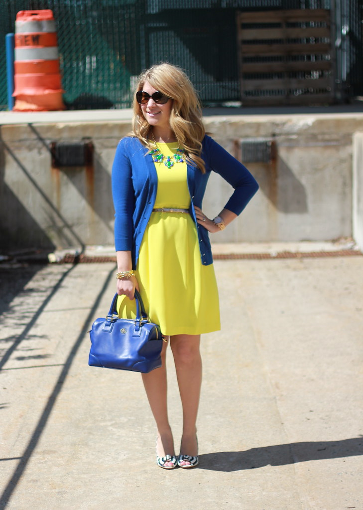 Blue and Yellow Work Outfit Idea • The Mix