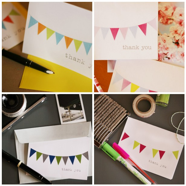 bunting thank you card downloads