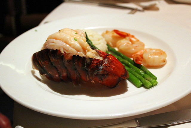 Broiled Lobster Tail and Tiger Prawns