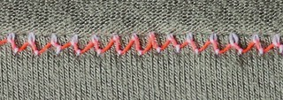 twin needle stitching straddling raw edge